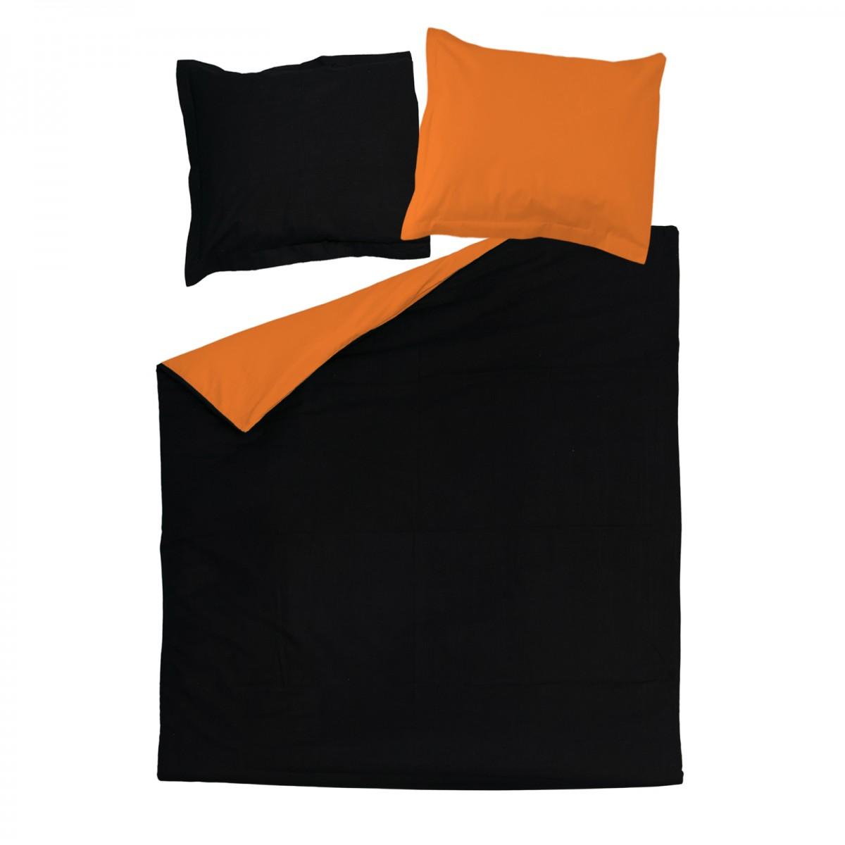Black Amp Orange 100 Cotton Reversible Bed Linen Set