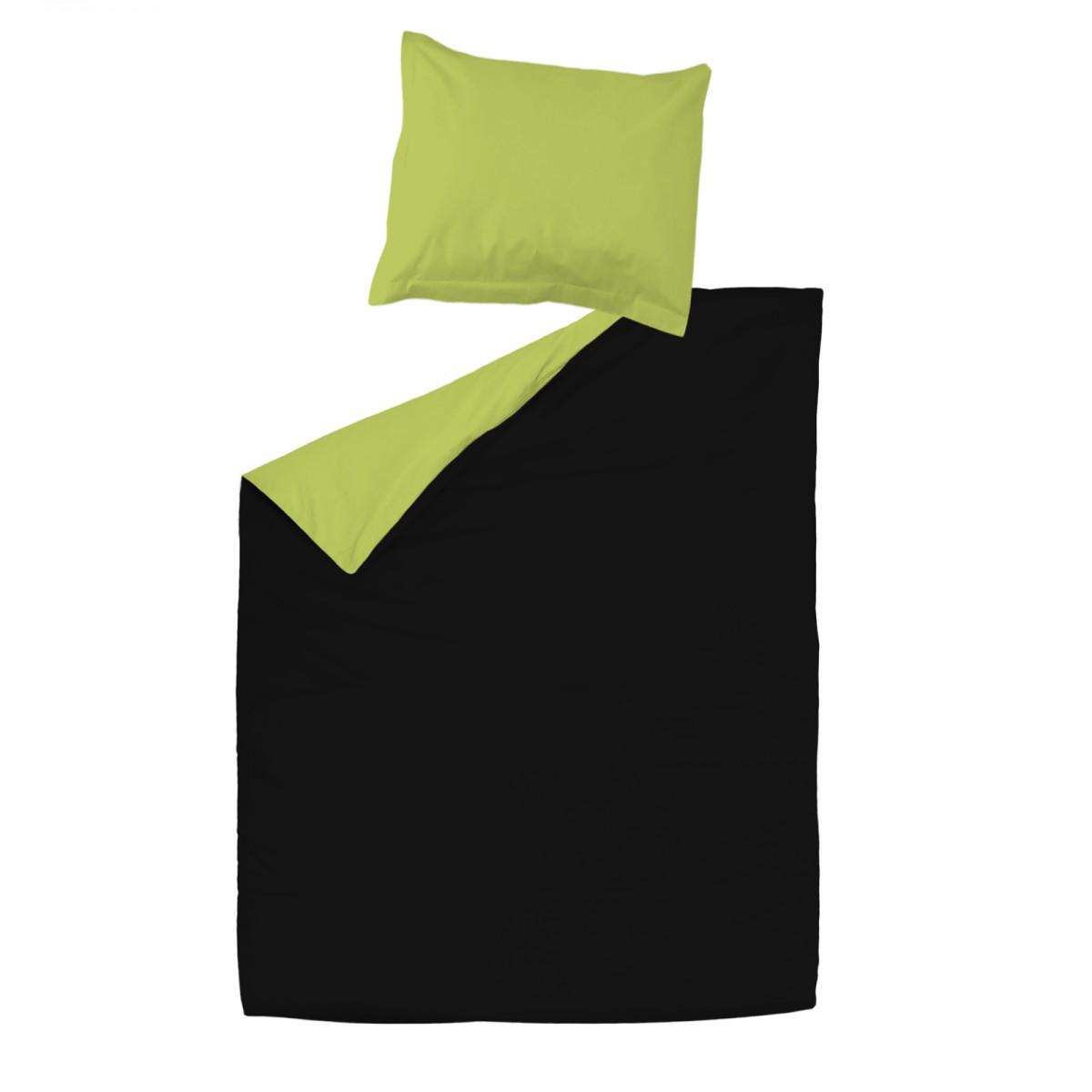 noir vert 100 coton parure de lit r versible housse de couette et taies d 39 oreiller. Black Bedroom Furniture Sets. Home Design Ideas