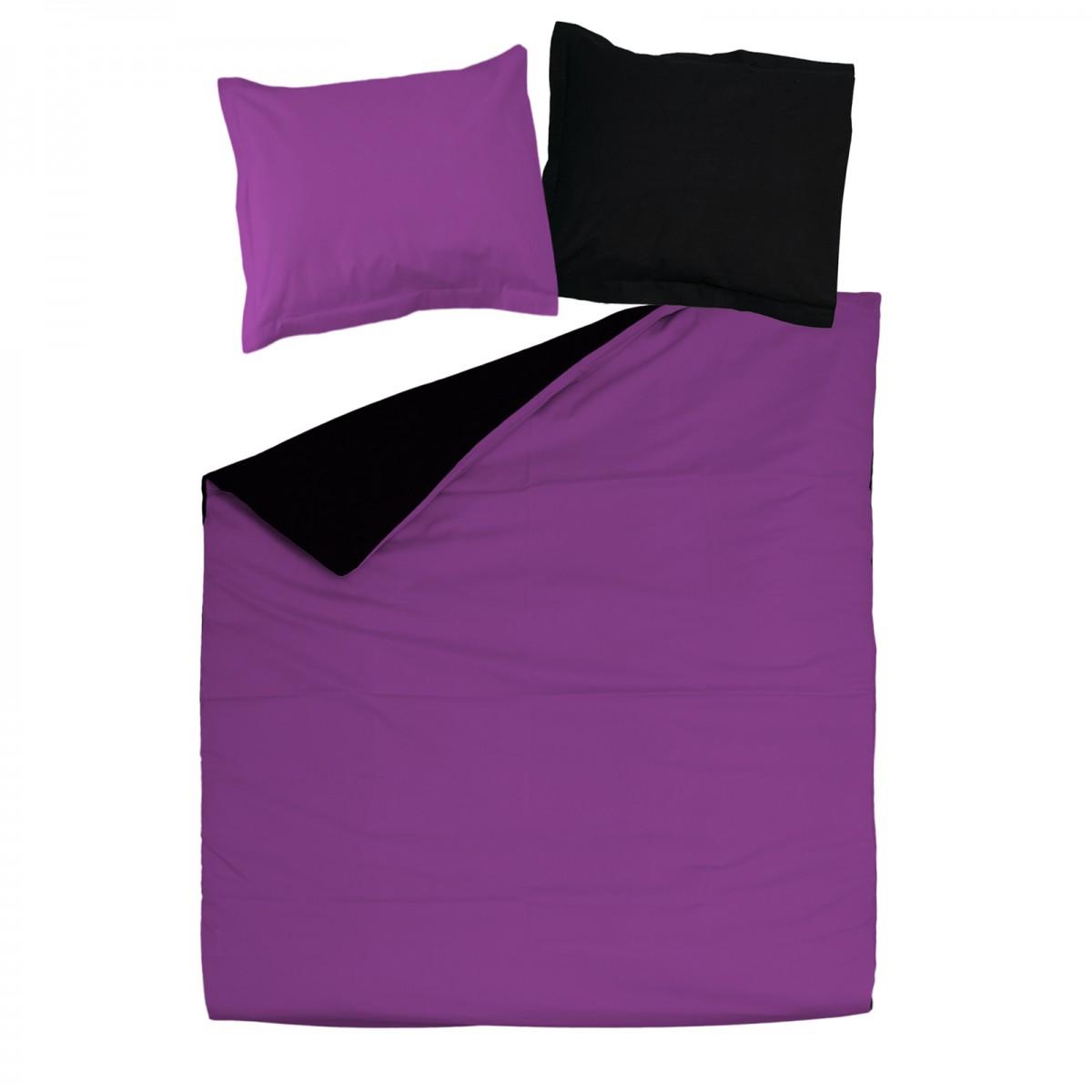 noir violet 100 coton parure de lit r versible. Black Bedroom Furniture Sets. Home Design Ideas