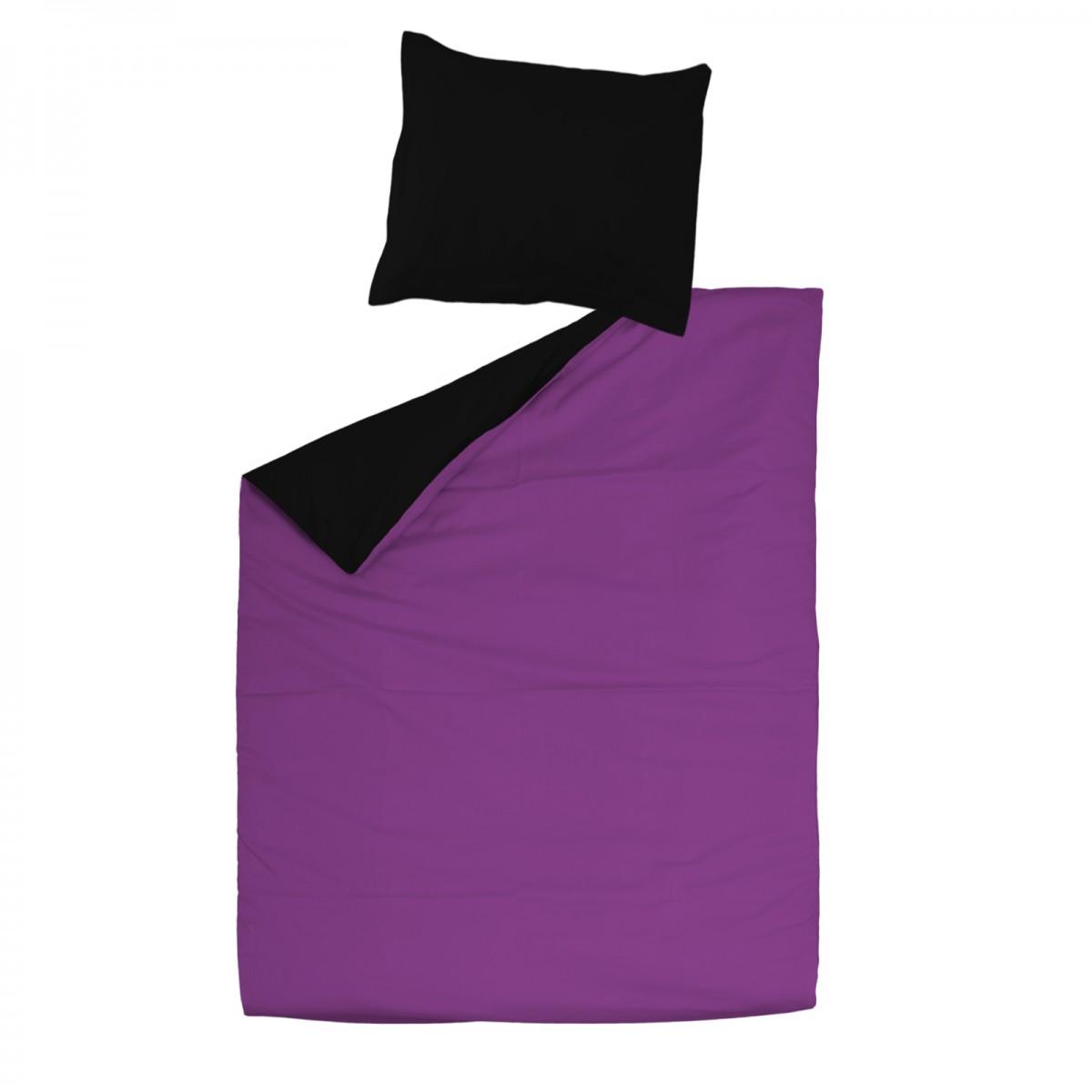 noir violet 100 coton parure de lit r versible housse de couette et taies d 39 oreiller. Black Bedroom Furniture Sets. Home Design Ideas