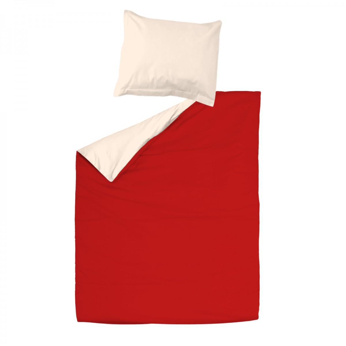 Rouge Et Ecru Clair 100 Coton Parure De Lit Housse De