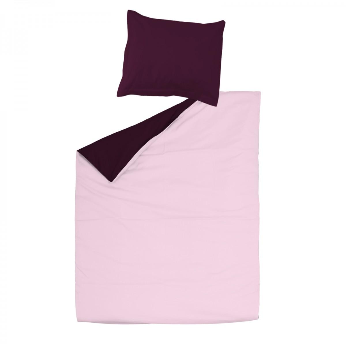 Aubergine et rose 100 coton parure de lit r versible for Housse de couette 100 coton