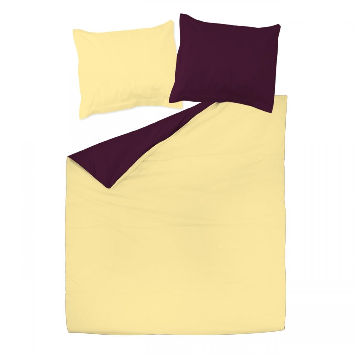 Aubergine et jaune 100 coton parure de lit r versible for Parure de housse de couette