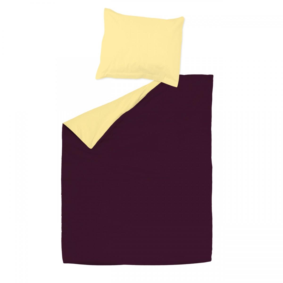 aubergine et jaune 100 coton parure de lit r versible housse de couette et taies d 39 oreiller. Black Bedroom Furniture Sets. Home Design Ideas