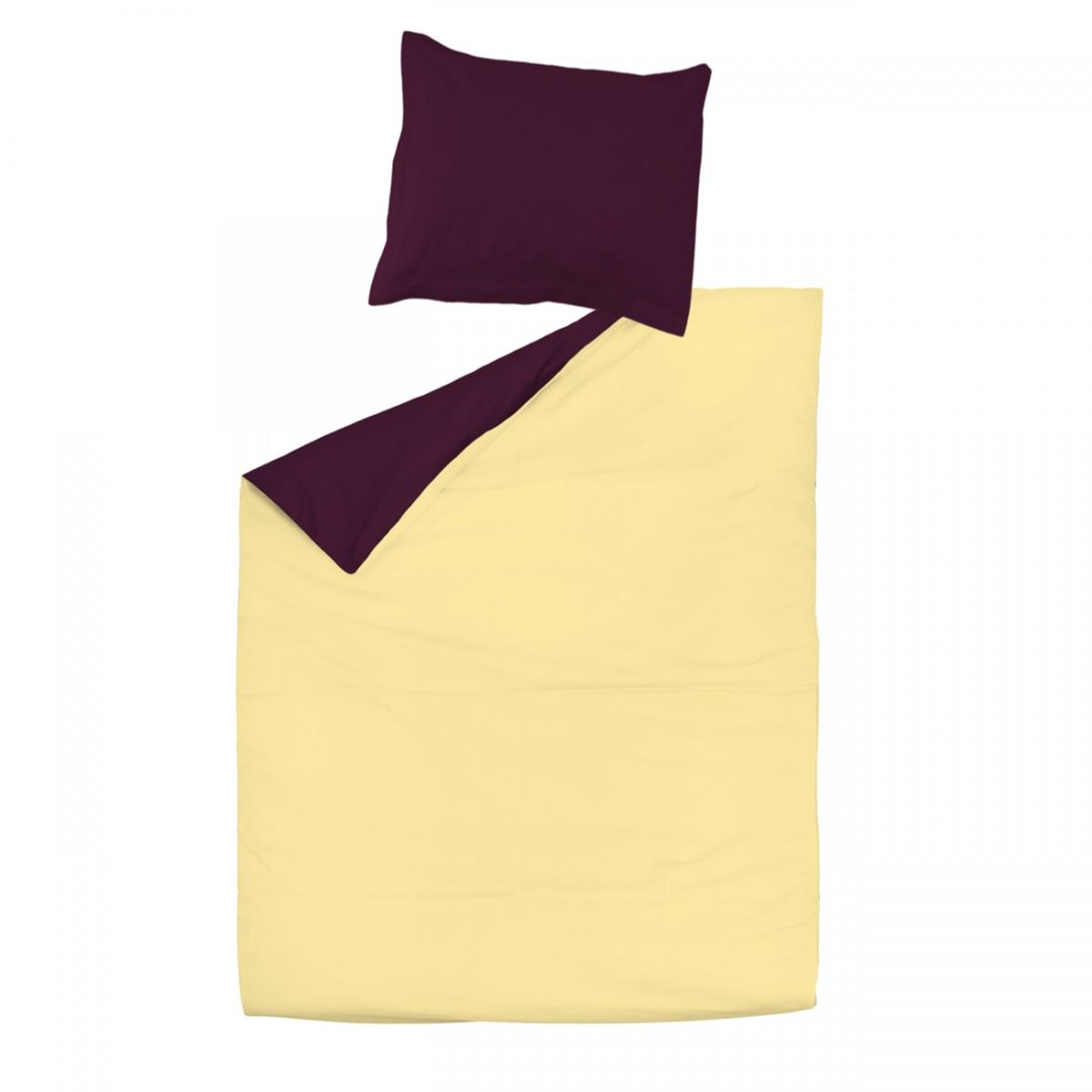 Aubergine et jaune 100 coton parure de lit r versible for Housse de couette 100 coton