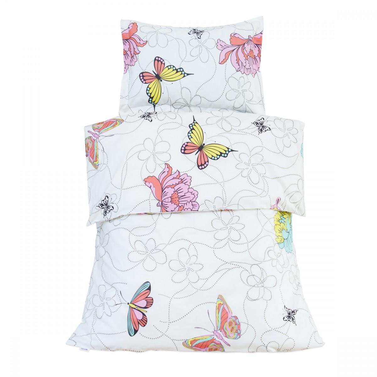 Les papillons 100 coton parure de lit pour b b housse for Housse de couette lit bebe