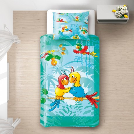 Les perroquets 100 coton parure de lit pour b b for Housse de couette pour lit bebe