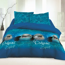 Les Dauphins - Parure de Lit, 100% Coton (Housse de couette et Taies d'oreiller)