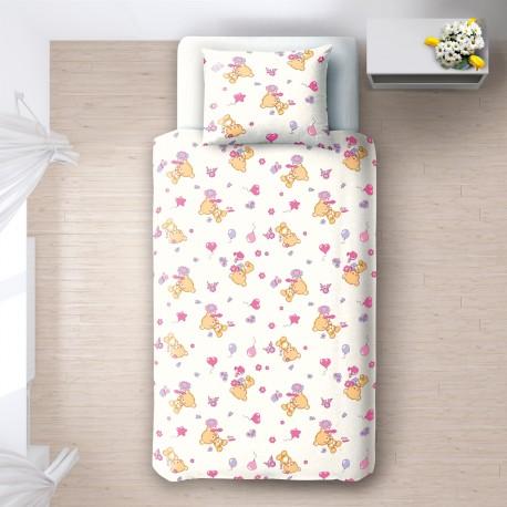 les oursons 100 coton parure de lit pour b b housse. Black Bedroom Furniture Sets. Home Design Ideas