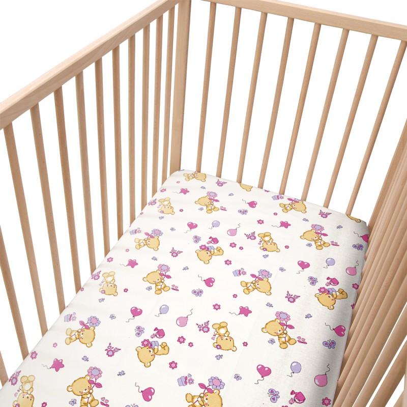 les oursons lot de 2 draps housse 100 coton linge de lit pour b b soulbedroom. Black Bedroom Furniture Sets. Home Design Ideas