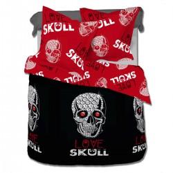 Love Skull (Le Crâne) - Parure de Lit, 100% Coton (Housse de couette et Taies d'oreiller)