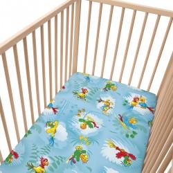 Les perroquets - Drap Housse / 100% Coton Linge de lit bébé