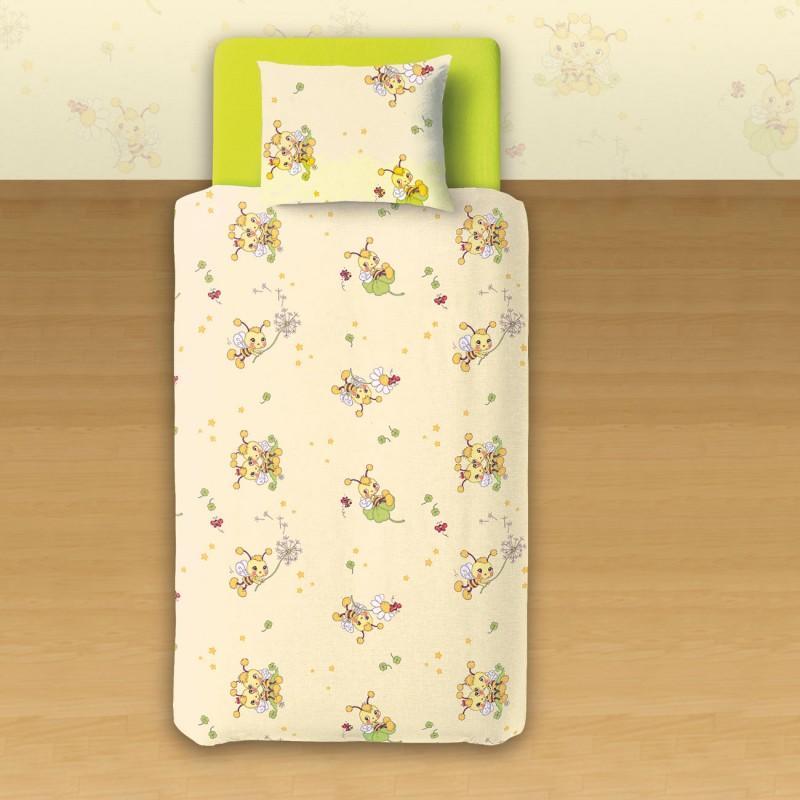 Les petites abeilles 100 coton parure de lit pour b b for Housse de couette lit bebe