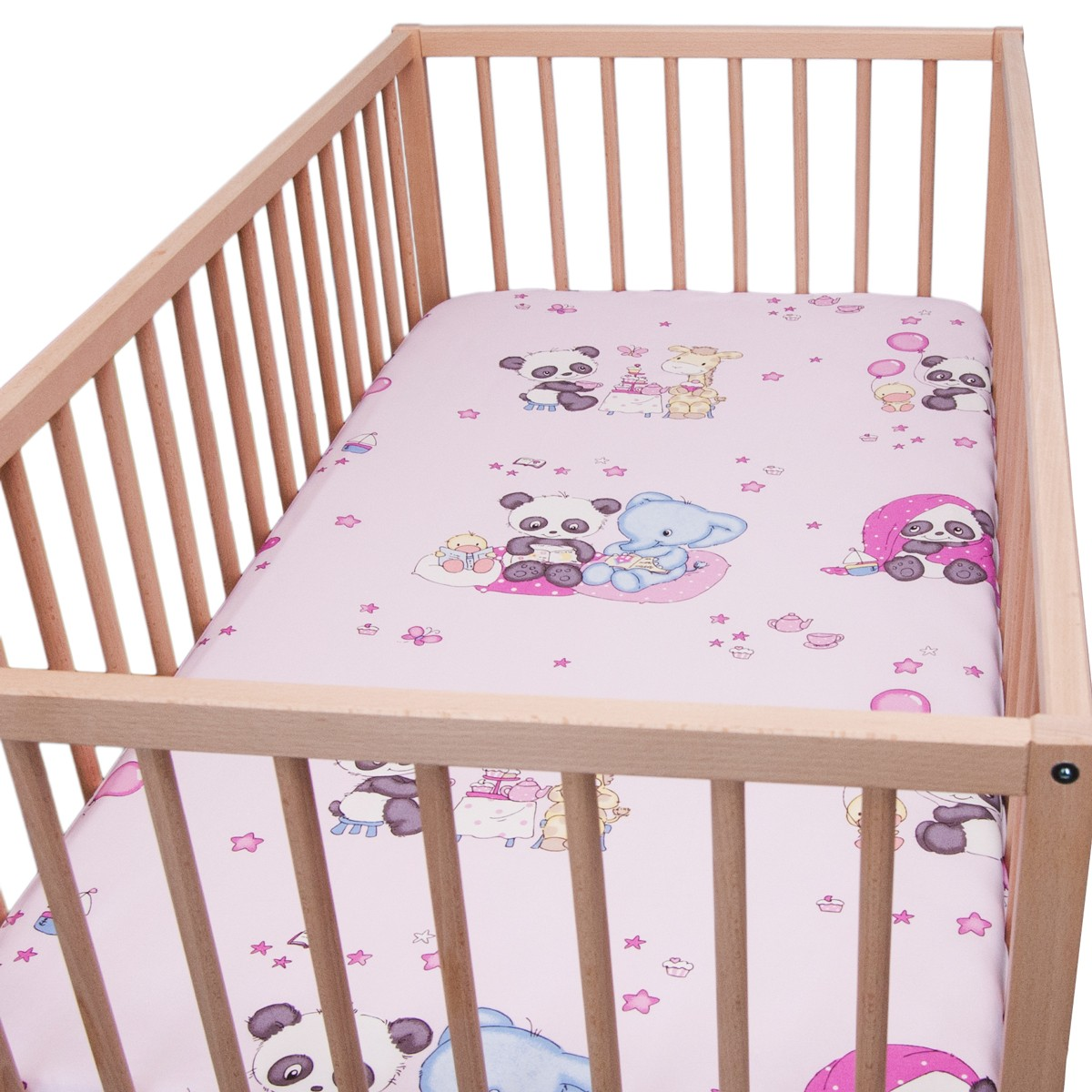 baby panda pack of 2 fitted sheet 100 cotton cot. Black Bedroom Furniture Sets. Home Design Ideas