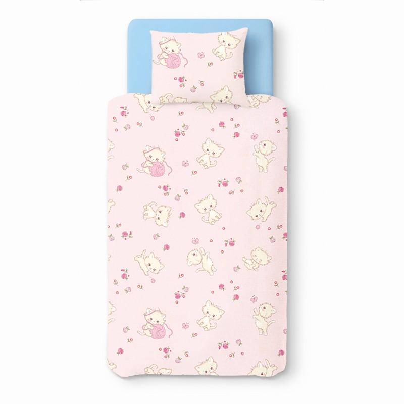 Rose kittens 100 coton parure de lit pour b b housse for Housse de couette lit bebe