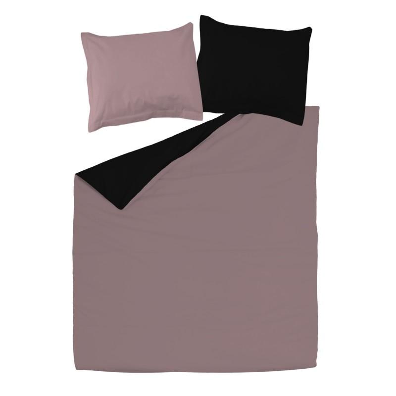 Noir rose cendr 100 coton parure de lit r versible - Housse de couette noir et rose ...