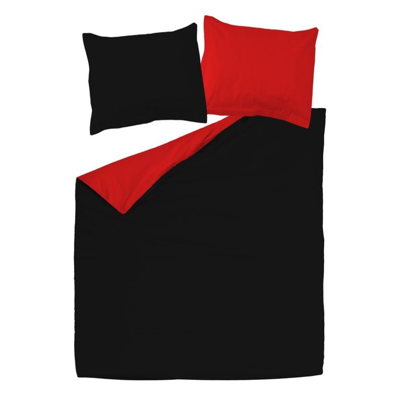 noir rouge 100 coton parure de lit r versible housse. Black Bedroom Furniture Sets. Home Design Ideas