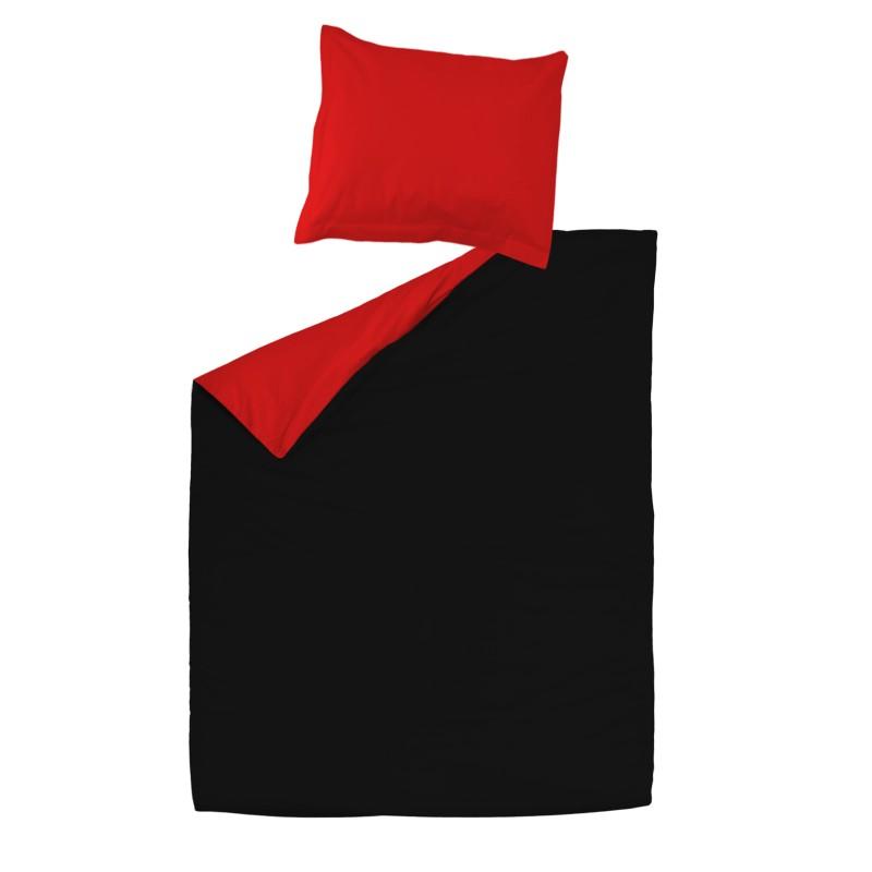 Noir rouge 100 coton parure de lit r versible housse for Housse de couette beige et rouge