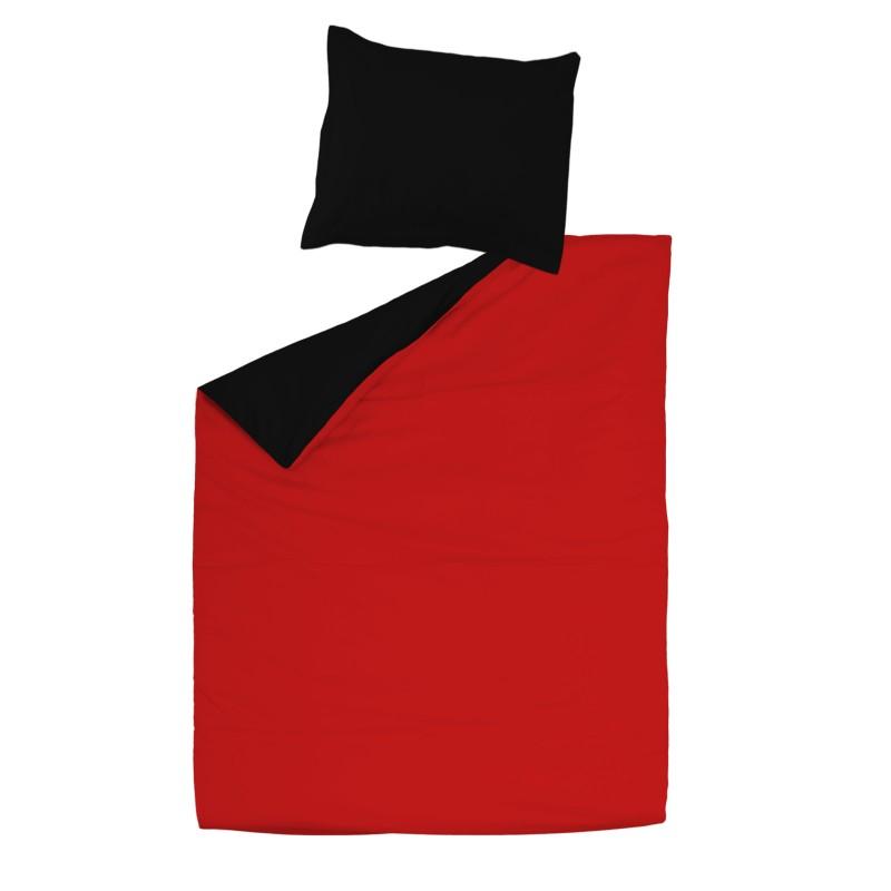 noir rouge 100 coton parure de lit r versible housse de couette et. Black Bedroom Furniture Sets. Home Design Ideas