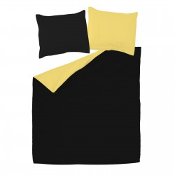 Noir & Jaune - 100% Coton Parure de Lit Réversible (Housse de couette et Taies d'oreiller)