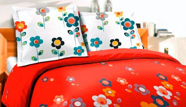 Fleurs I Story Rouge - 100% Coton Parure de Lit (Housse de couette et Taies d'oreiller)