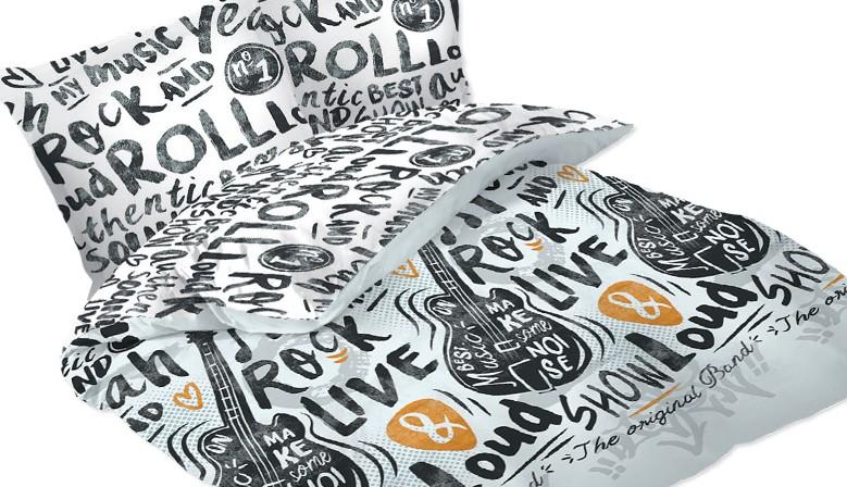 Rock & Roll - Parure de Lit, 100% Coton (Housse de couette et Taies d'oreiller)