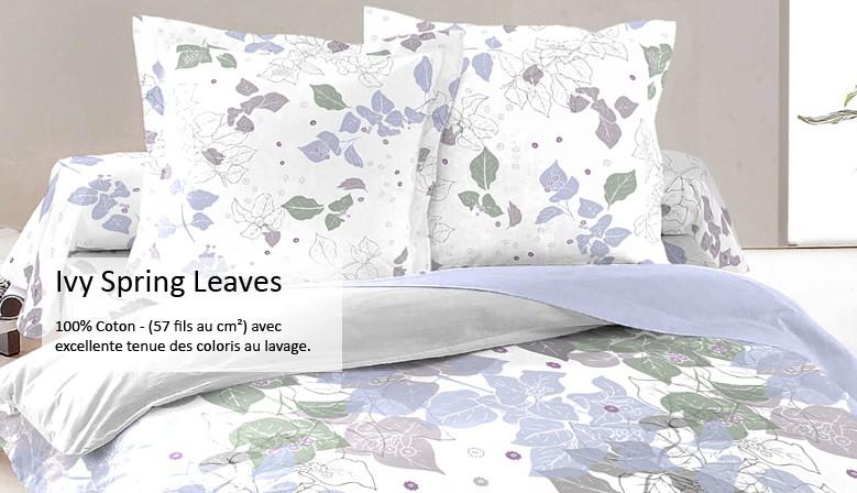 Ivy Spring Leaves - Parure de Lit, 100% Coton (Housse de couette et Taies d'oreiller)