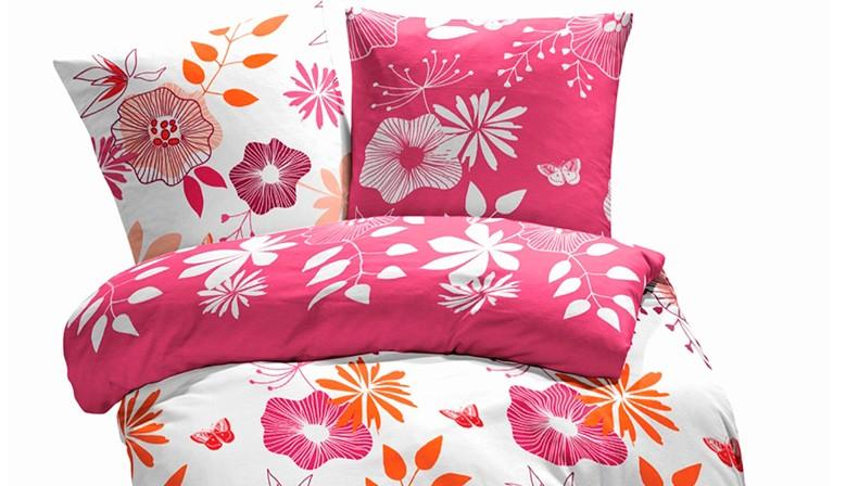 Les Fleur Coquettes - Parure de Lit, 100% Coton (Housse de couette et Taies d'oreiller)