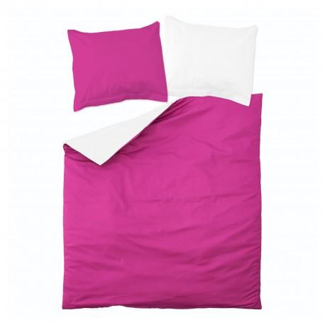 Cyclamen & White - 100% Cotton Reversible Bed Linen Set (Duvet Cover & Pillow Cases)