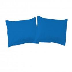 Bleu - Taies d'oreiller ou traversin / 100% Coton