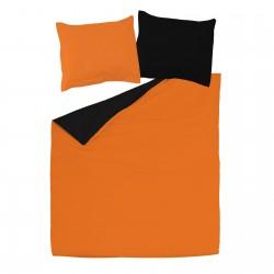 Noir & Orange - 100% Coton Parure de Lit Réversible (Housse de couette et Taies d'oreiller)
