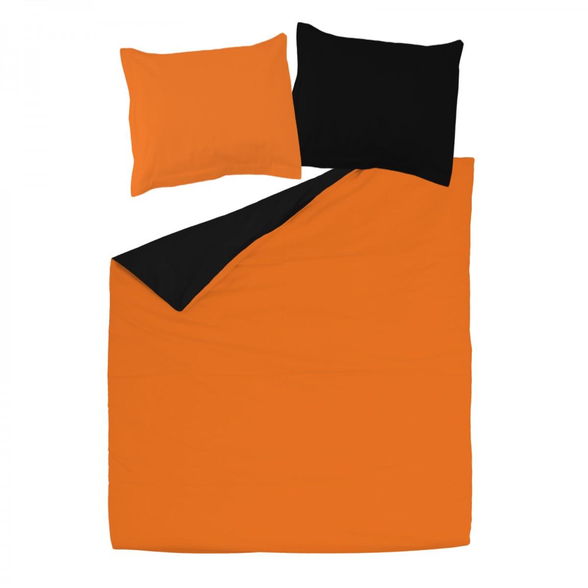 Black And Orange 100 Cotton Reversible Bed Linen Set