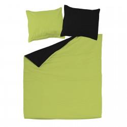 Noir & Vert - 100% Coton Parure de Lit Réversible (Housse de couette et Taies d'oreiller)
