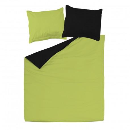 Black & Green - 100% Cotton Reversible Bed Linen Set (Duvet Cover & Pillow Cases)