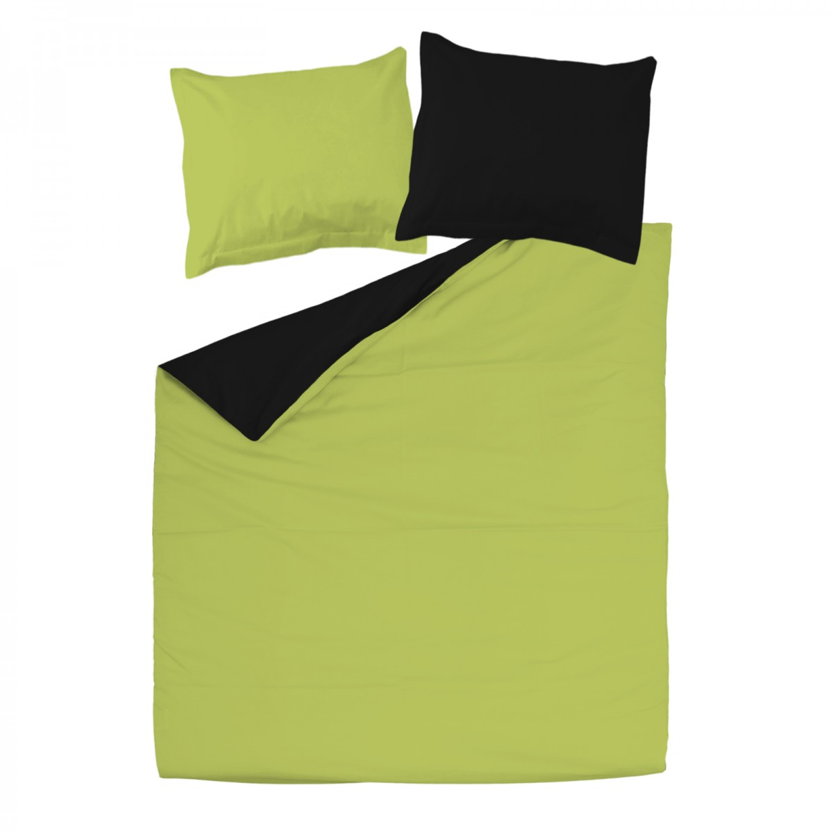 Noir et vert 100 coton parure de lit r versible housse for Parure de housse de couette