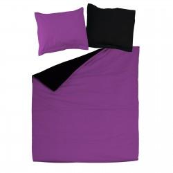 Noir et Violet - 100% Coton Parure de Lit Réversible (Housse de couette et Taies d'oreiller)