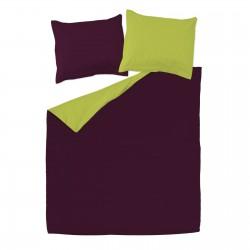 Aubergine et Vert - 100% Coton Parure de Lit Réversible (Housse de couette et Taies d'oreiller)