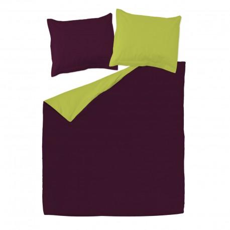 aubergine et vert 100 coton parure de lit r versible housse de couette et taies d 39 oreiller. Black Bedroom Furniture Sets. Home Design Ideas