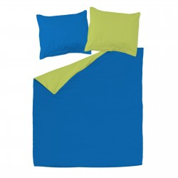 Green and Blue - 100% Cotton Reversible Bed Linen Set (Duvet Cover & Pillow Cases)