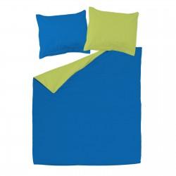 Vert & Bleu - 100% Coton Parure de Lit Réversible (Housse de couette et Taies d'oreiller)