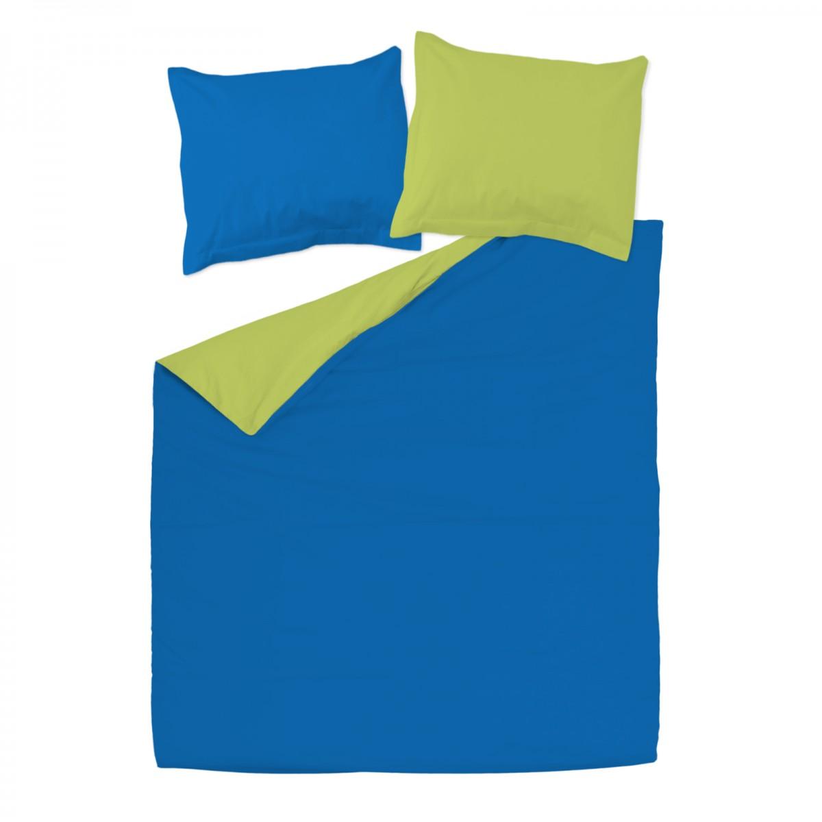 Vert et bleu 100 coton parure de lit r versible housse for Parure de housse de couette