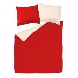 Rouge et Ecru Clair - 100% Coton Parure de Lit (Housse de couette Réversible et Taies d'oreiller)