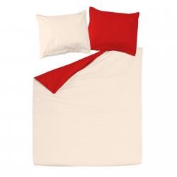 Rouge & Ecru Clair - 100% Coton Parure de Lit (Housse de couette Réversible et Taies d'oreiller)