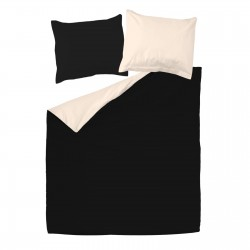 Black and Light Ecru - 100% Cotton Bed Linen Set (Reversible Duvet Cover & Pillow Cases)