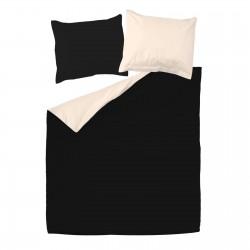 Noir et Ecru Clair - 100% Coton Parure de Lit (Housse de couette Réversible et Taies d'oreiller)