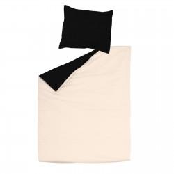 Noir & Ecru Clair - 100% Coton Parure de Lit (Housse de couette Réversible et Taies d'oreiller)