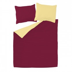 Bordeaux & Yellow - 100% Cotton Bed Linen Set (Reversible Duvet Cover & Pillow Cases)
