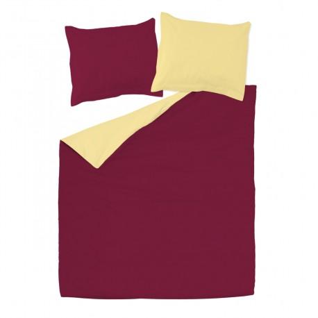 Bordeaux & Yellow - 100% Cotton Bed Linen Set (Reversible Duvet Cover & Pillow Cases)
