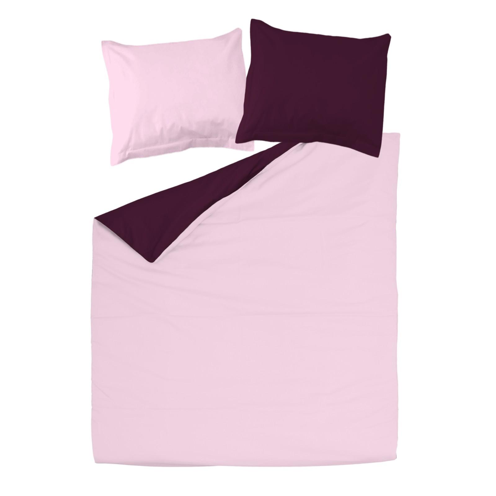 aubergine et rose 100 coton parure de lit r versible. Black Bedroom Furniture Sets. Home Design Ideas