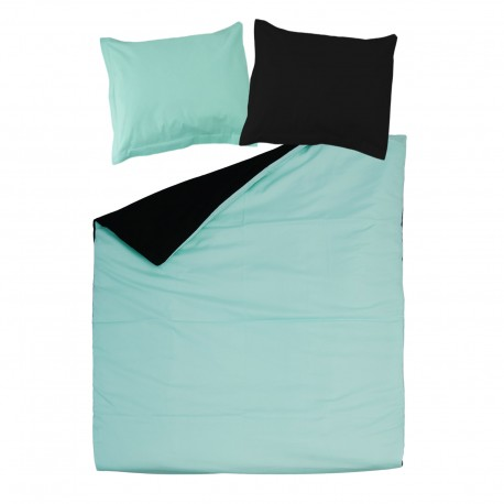Black & Aqua Blue - 100% Cotton Bed Linen Set (Reversible Duvet Cover & Pillow Cases)